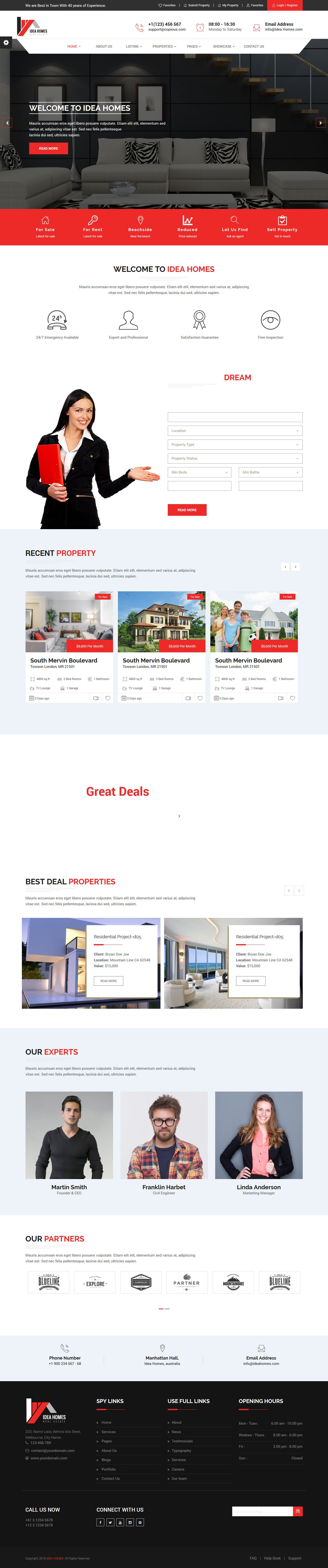 Idea homes - Real Estate Template  Screenshot 1