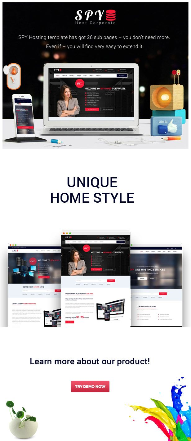SPY - Hosting Bootstrap Template Screenshot 1