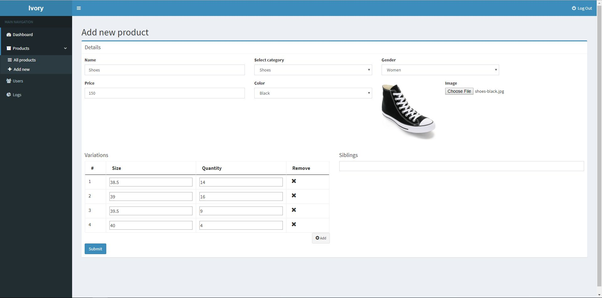Ivory Admin Panel - Laravel CMS Screenshot 4
