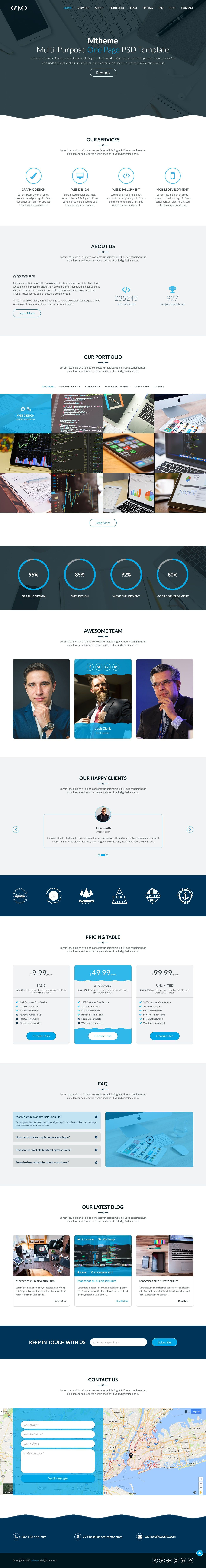 MTheme - Multi-Purpose One Page PSD Template Screenshot 2