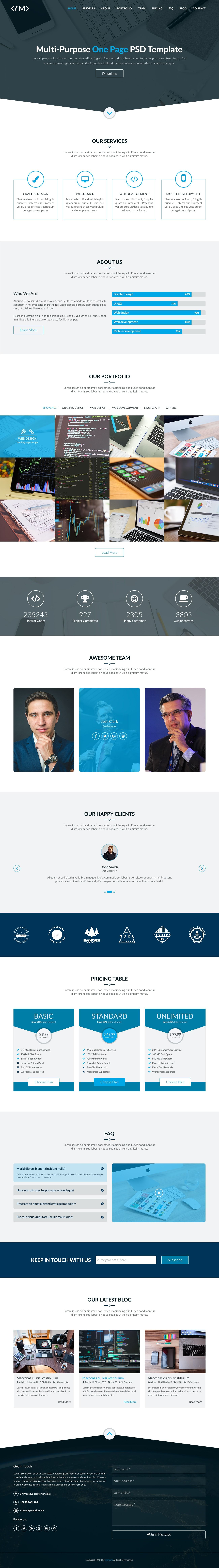 MTheme - Multi-Purpose One Page PSD Template Screenshot 3