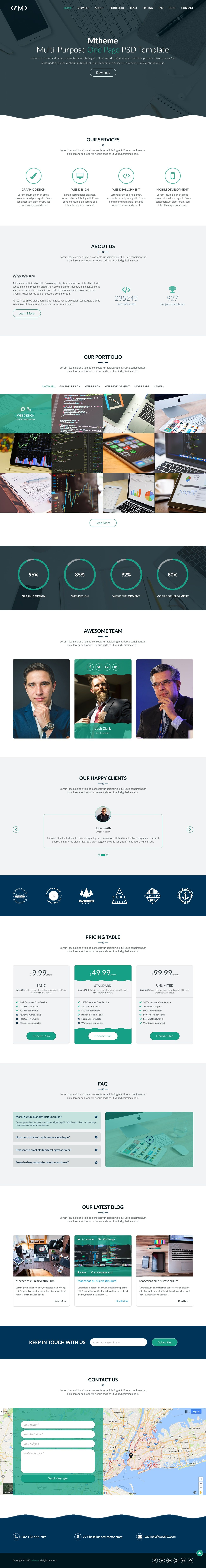 MTheme - Multi-Purpose One Page PSD Template Screenshot 6
