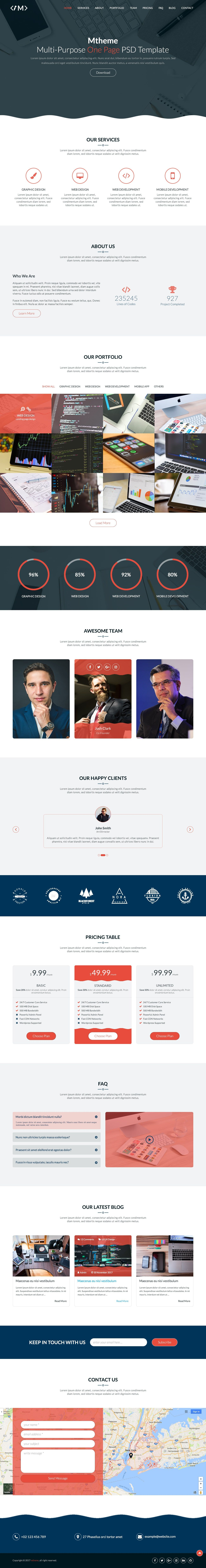MTheme - Multi-Purpose One Page PSD Template Screenshot 10