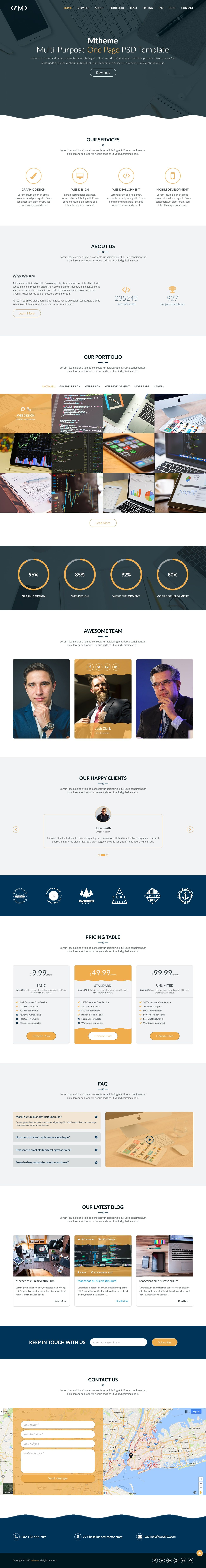 MTheme - Multi-Purpose One Page PSD Template Screenshot 14