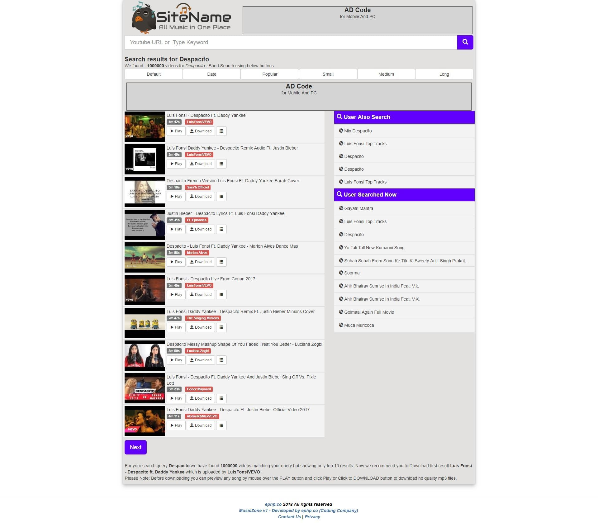 MusicZone Youtube Mp3 And Video Downloader | Codester