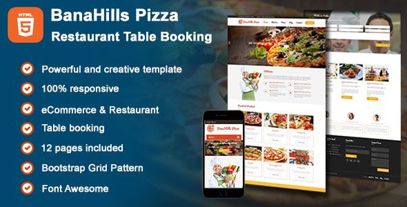 Pizza - Restaurant Table Booking HTML Template Screenshot 1