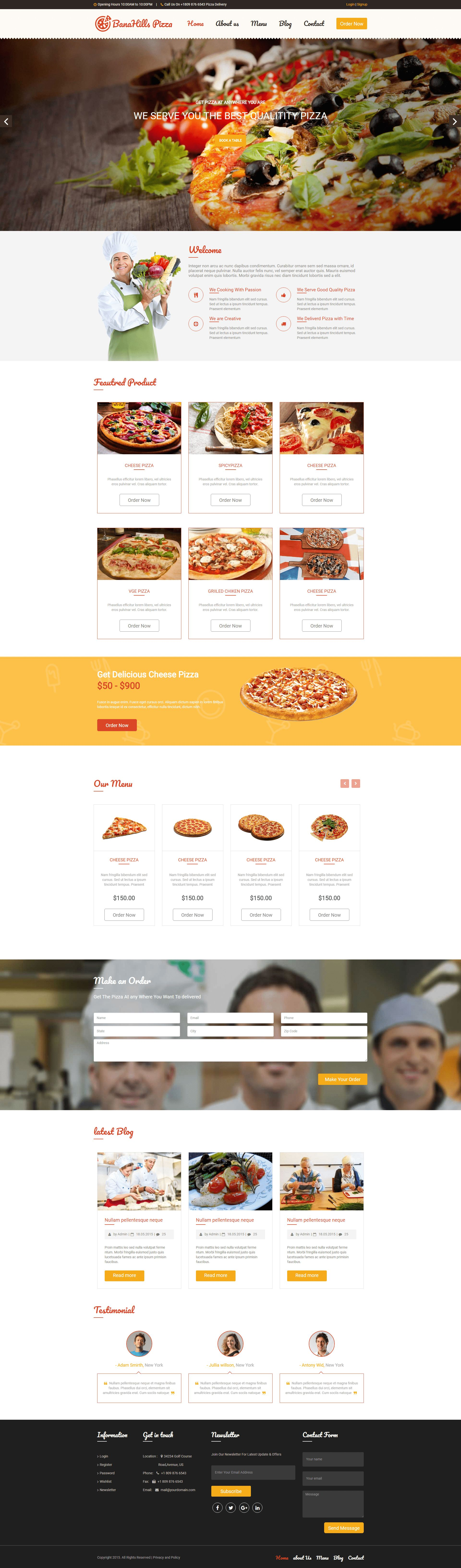 Pizza - Restaurant Table Booking HTML Template Screenshot 2