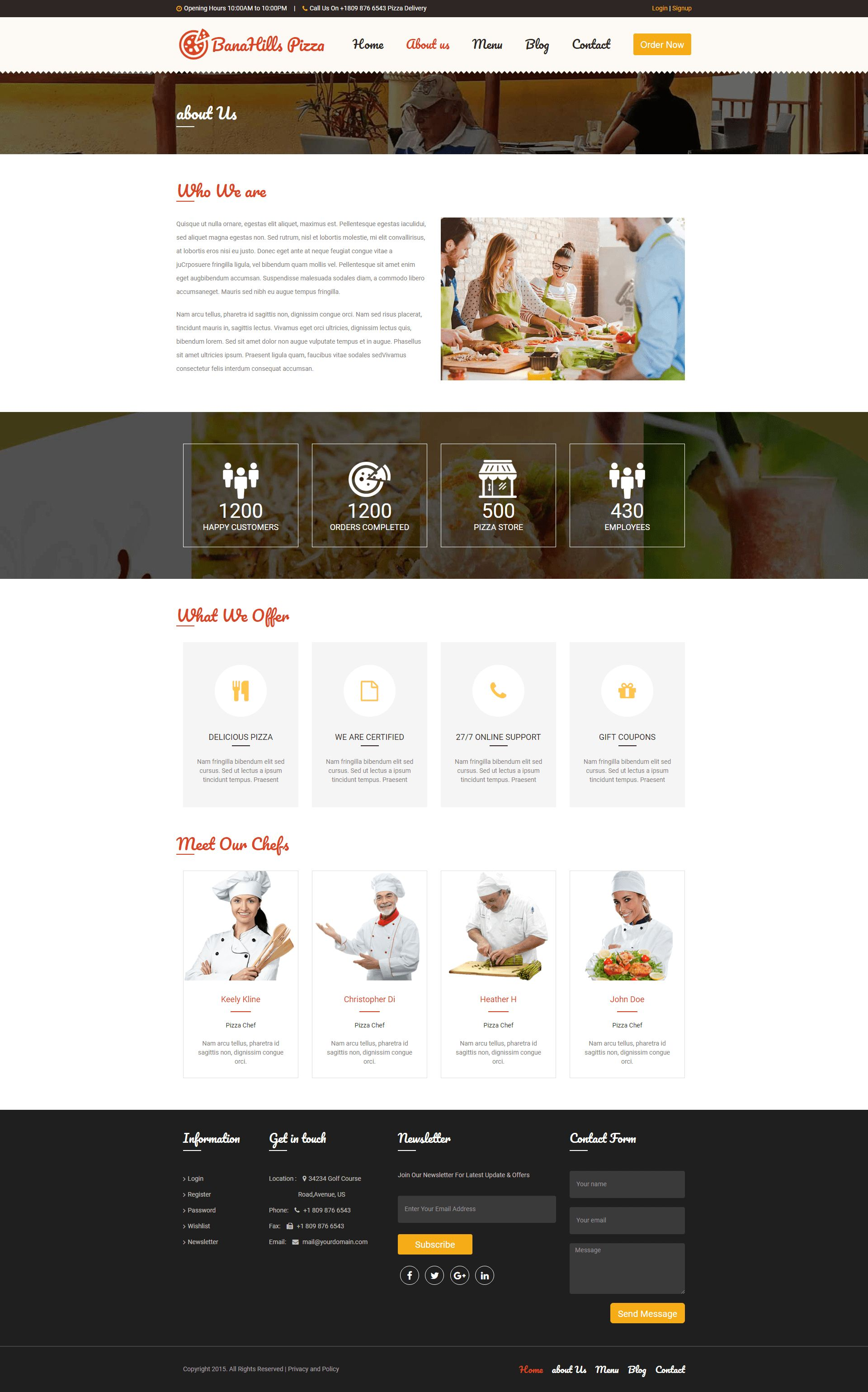 Pizza - Restaurant Table Booking HTML Template Screenshot 3