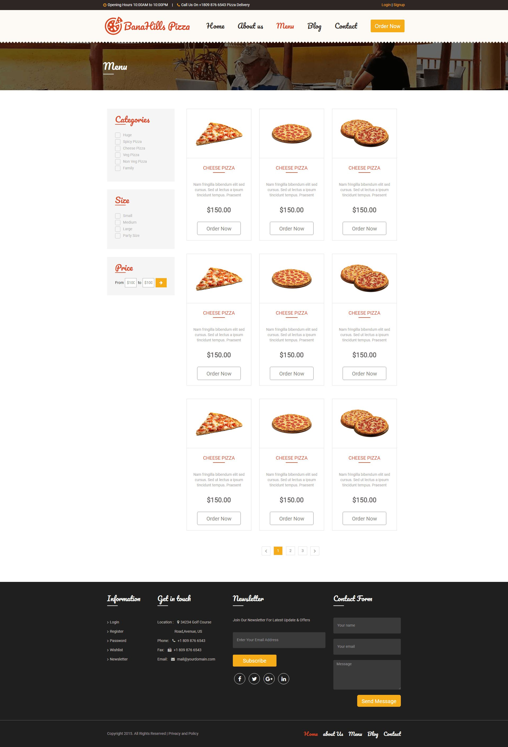 Pizza - Restaurant Table Booking HTML Template Screenshot 5