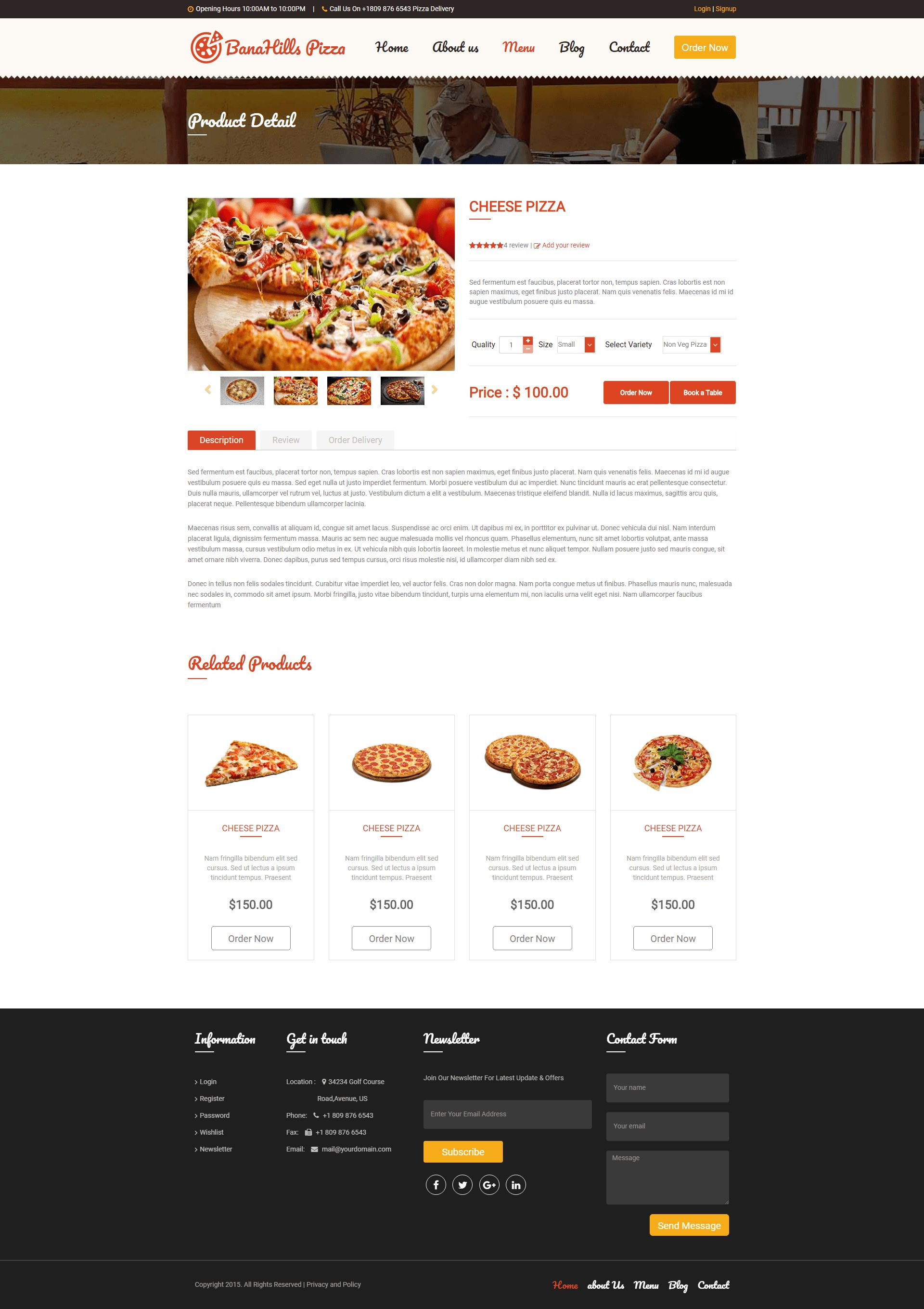 Pizza - Restaurant Table Booking HTML Template Screenshot 6