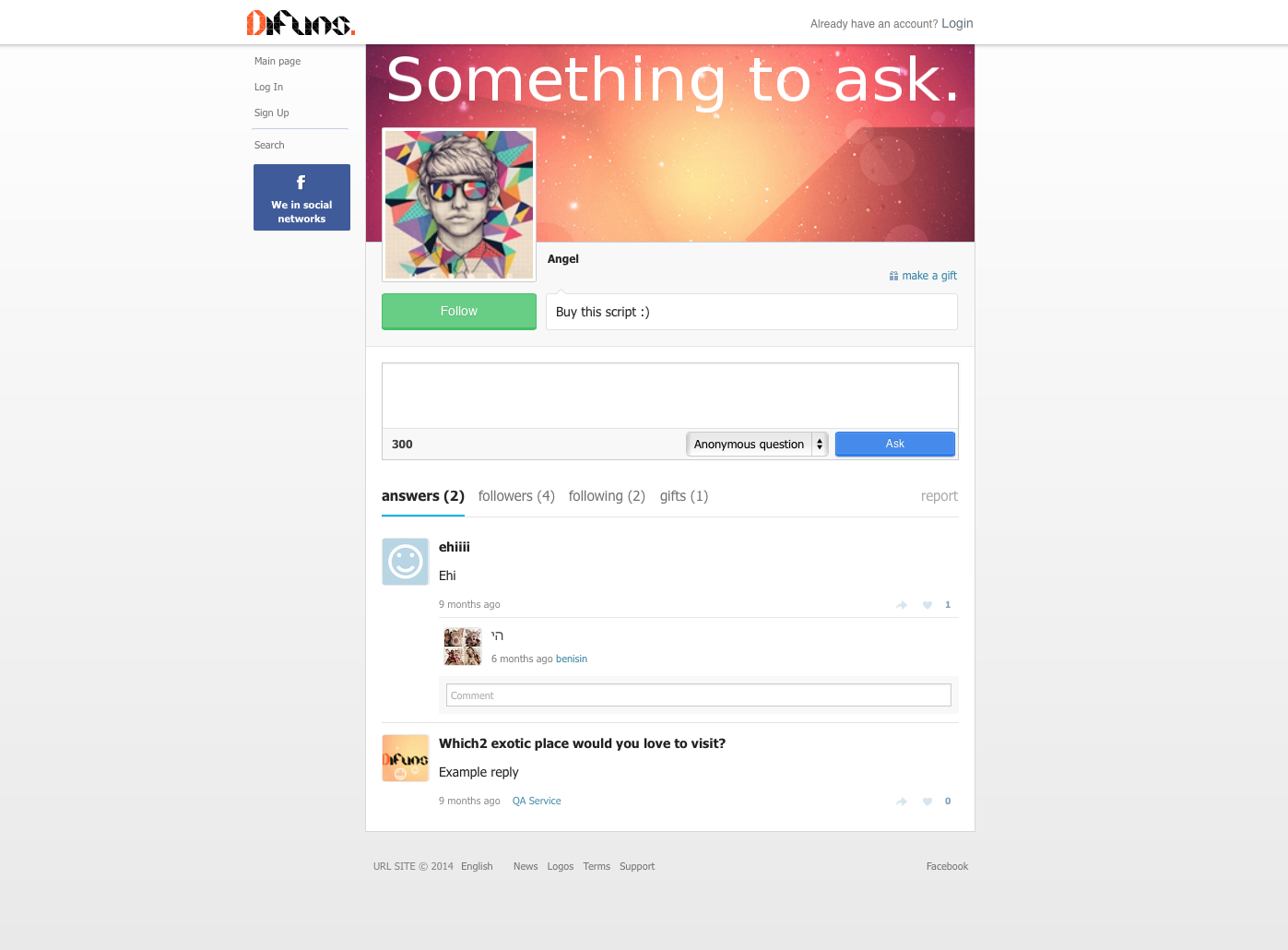 DiFuns - Social Ask Professional Script PHP Screenshot 3