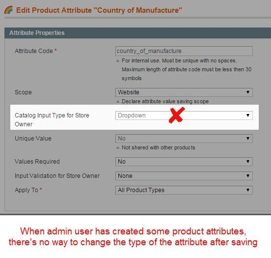 Change Attribute Type - Magento Extension Screenshot 2