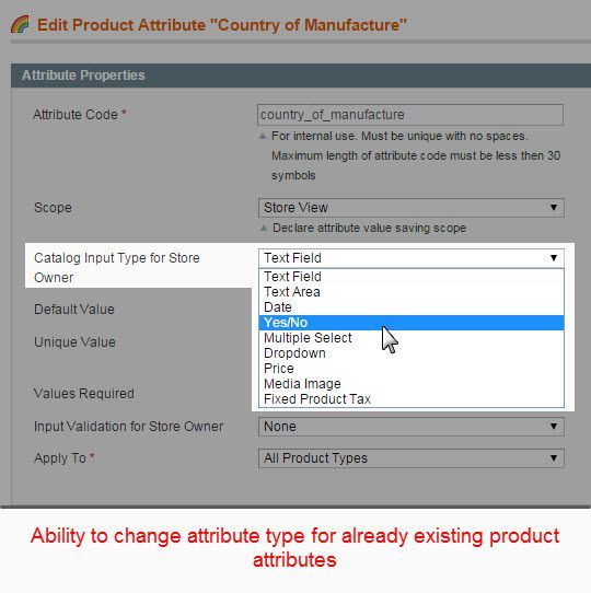 Change Attribute Type - Magento Extension Screenshot 3