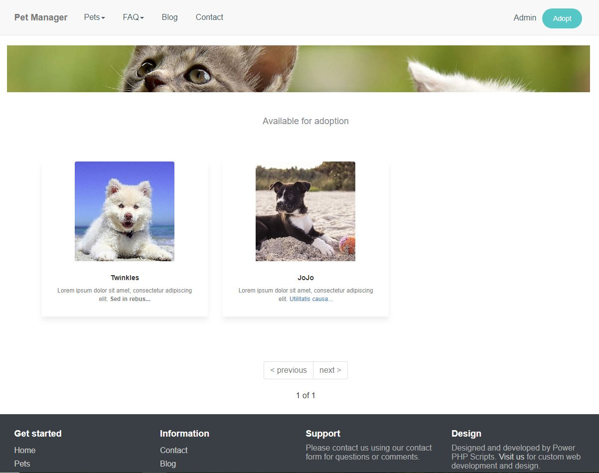 Pet Manager Adoption Script PHP Screenshot 1