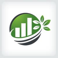 Green Growth Bar Chart - Logo Template