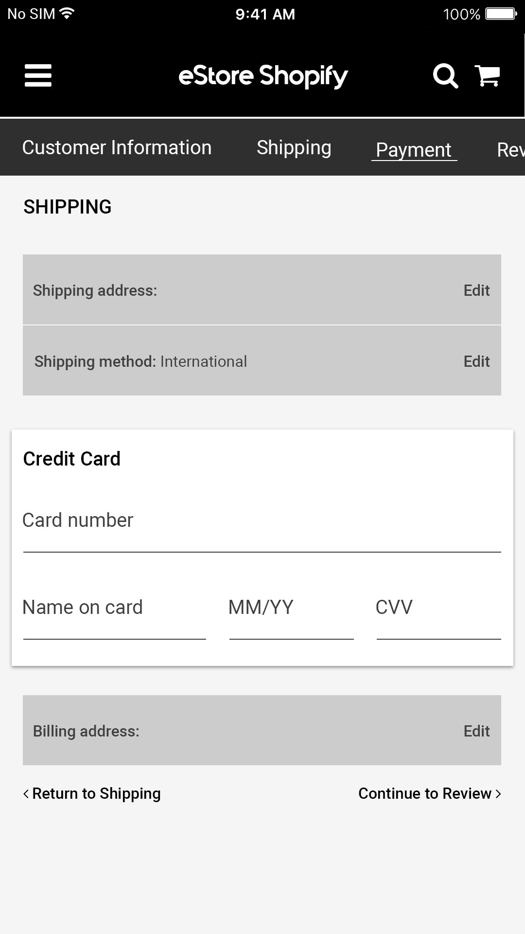 eStore Shopify - iOS App Source Code Screenshot 17
