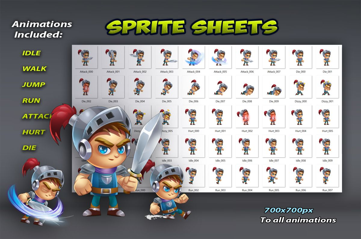 Knight Game Character Sprites 01 Screenshot 2