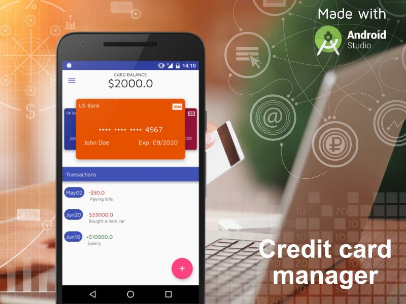 CreditCard Manager - Android Studio UI Kit Screenshot 1