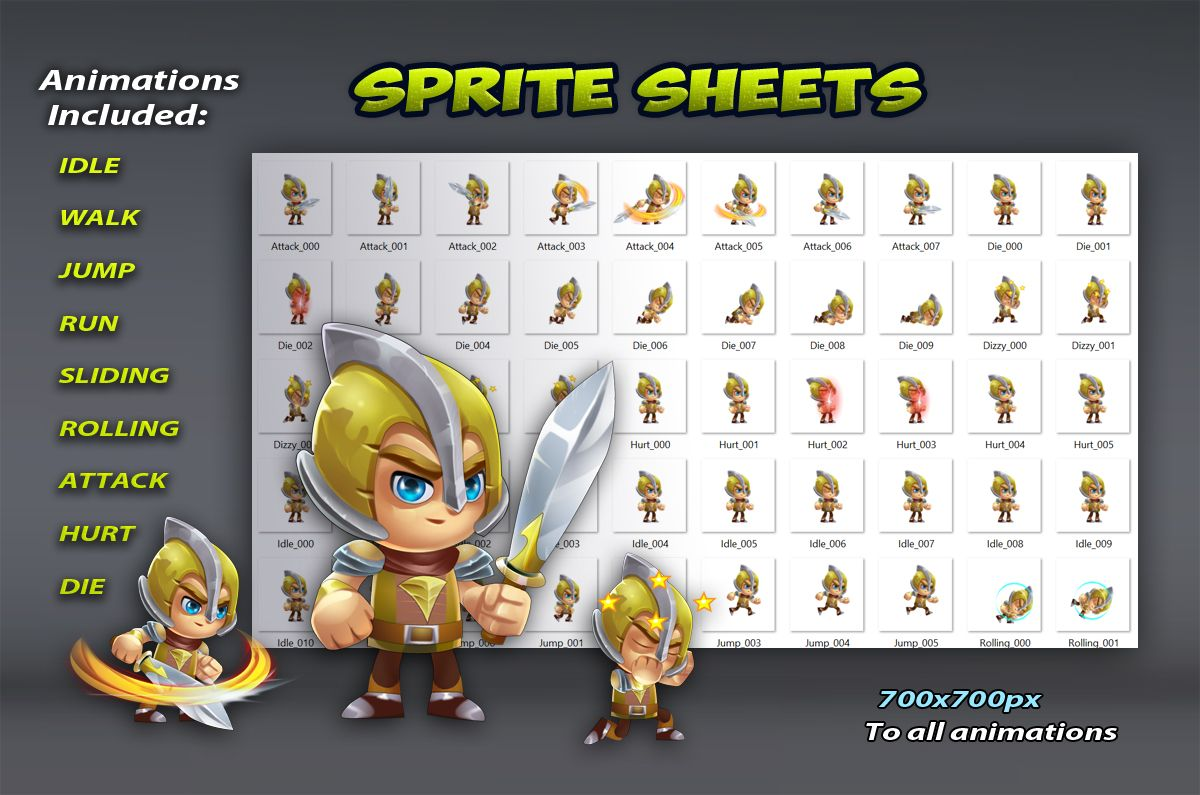 Knight 2D Game Character Sprites 02 Screenshot 2