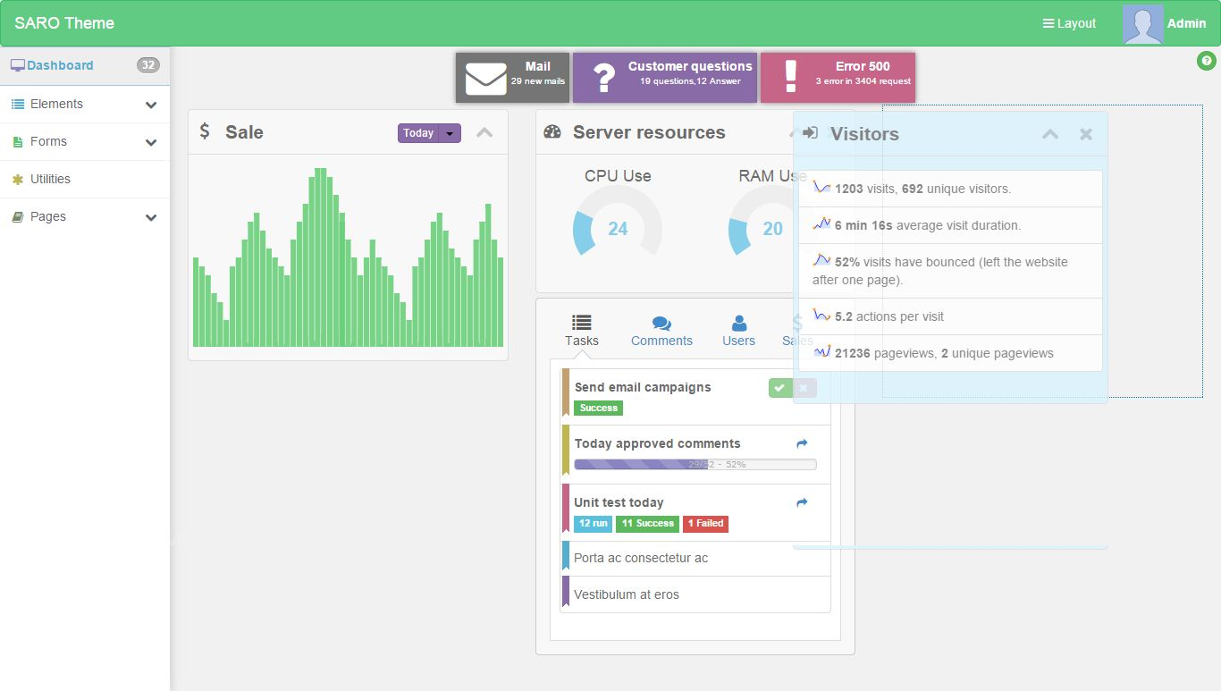 Saro - Responsive Admin Dashboard Template Screenshot 1