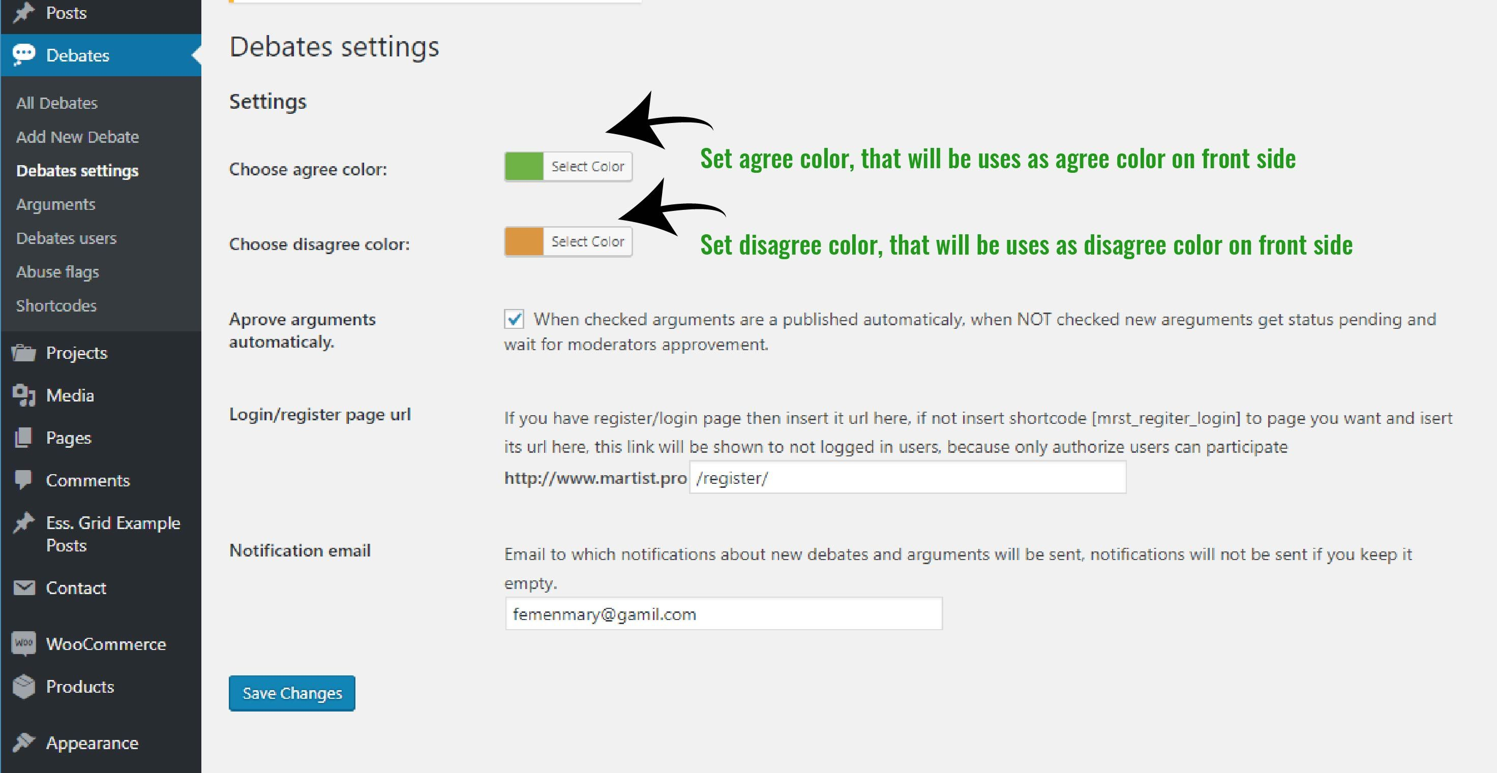 Agree Disagree Debates Wordpress Plugin Screenshot 3