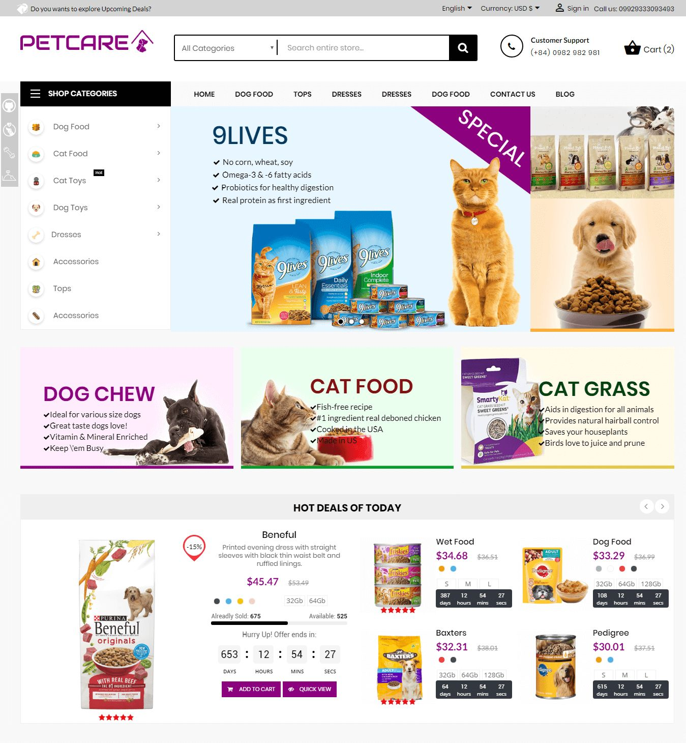 Pets and Animals Care Prestashop Theme Screenshot 2