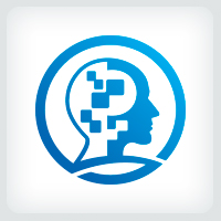 Brain Code - People Head Logo