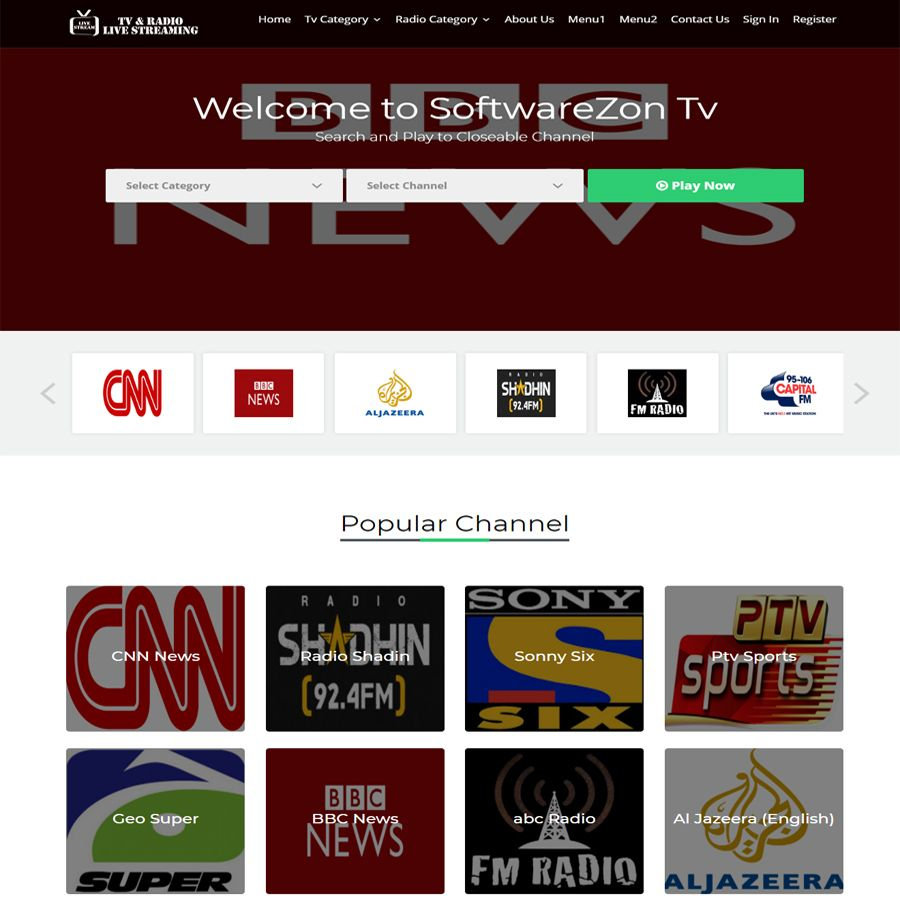 Live TV Channel Broadcasting Script PHP Screenshot 1