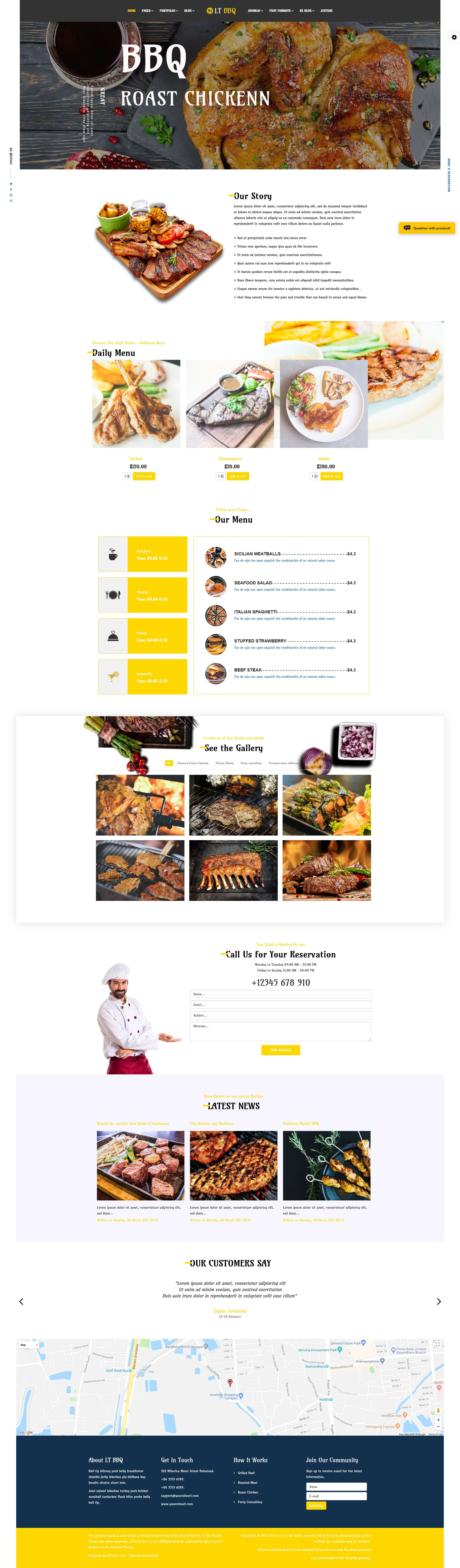 LT BBQ - Premium Barbecue Joomla Template Screenshot 1