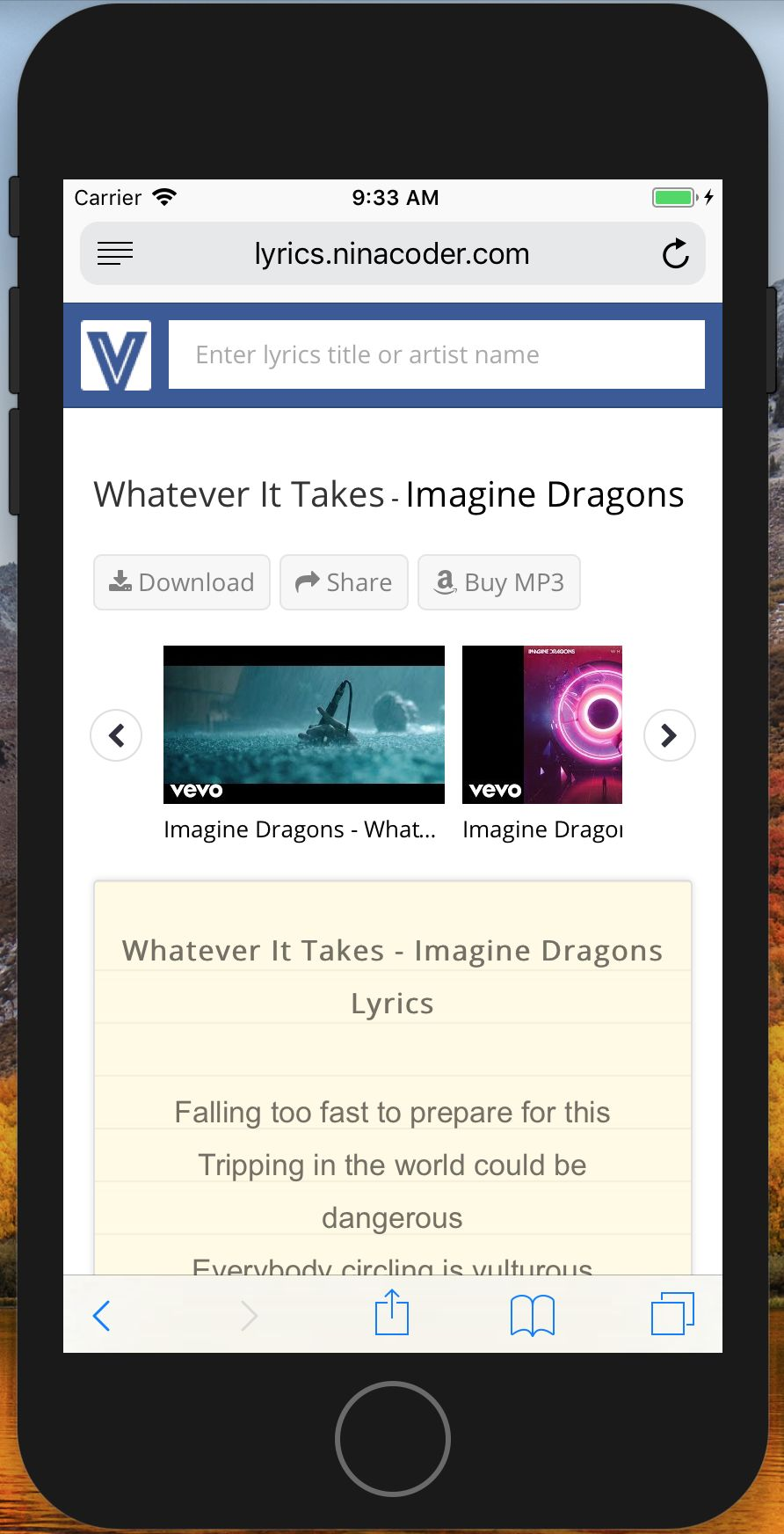 Lyrics Search Engine CMS PHP Screenshot 3