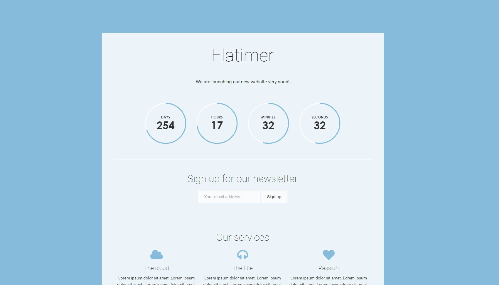 Flatimer - Coming soon HTML Template Screenshot 1