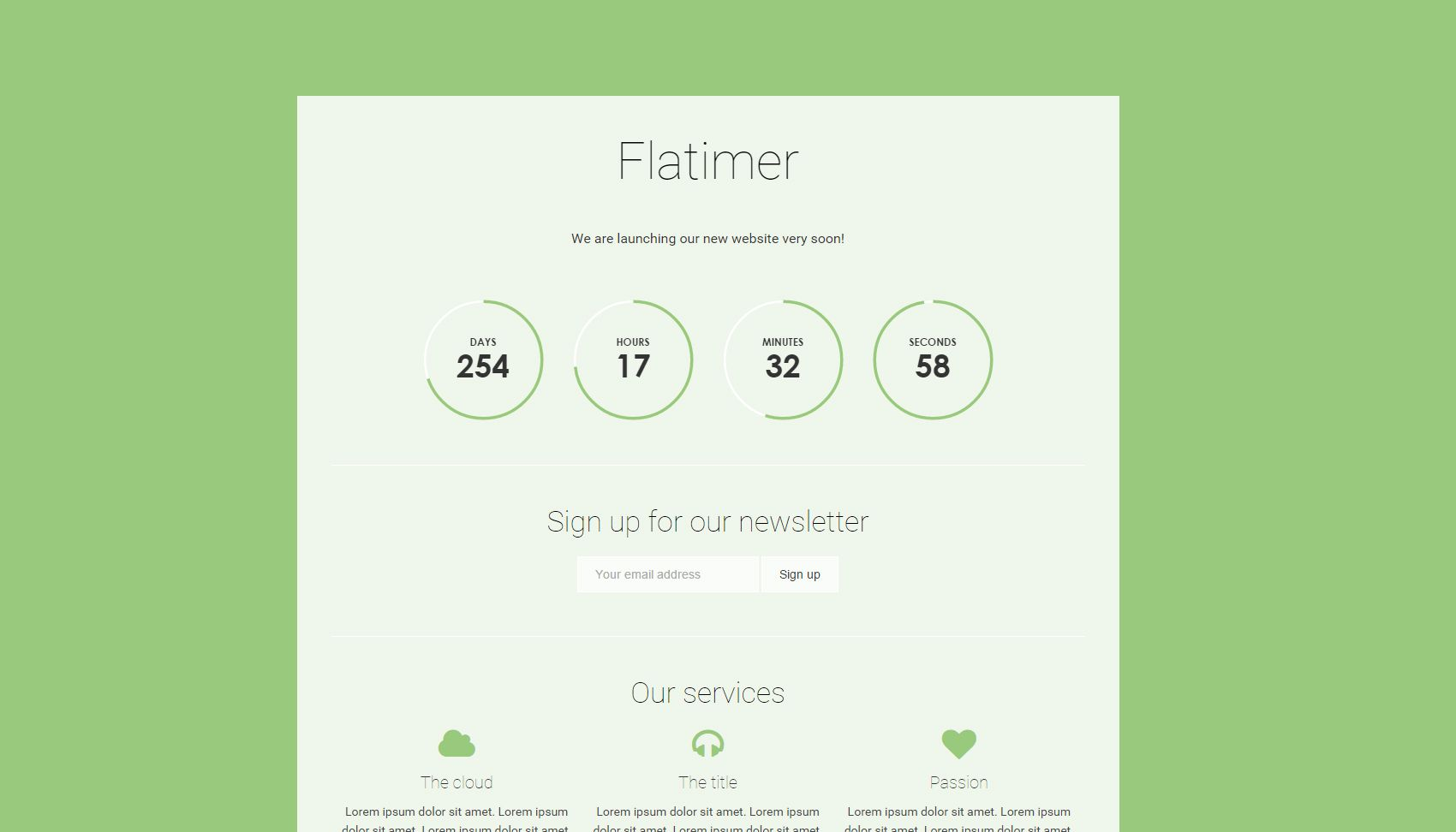 Flatimer - Coming soon HTML Template Screenshot 2