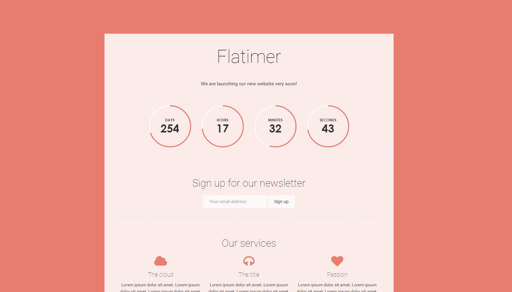Flatimer - Coming soon HTML Template Screenshot 3