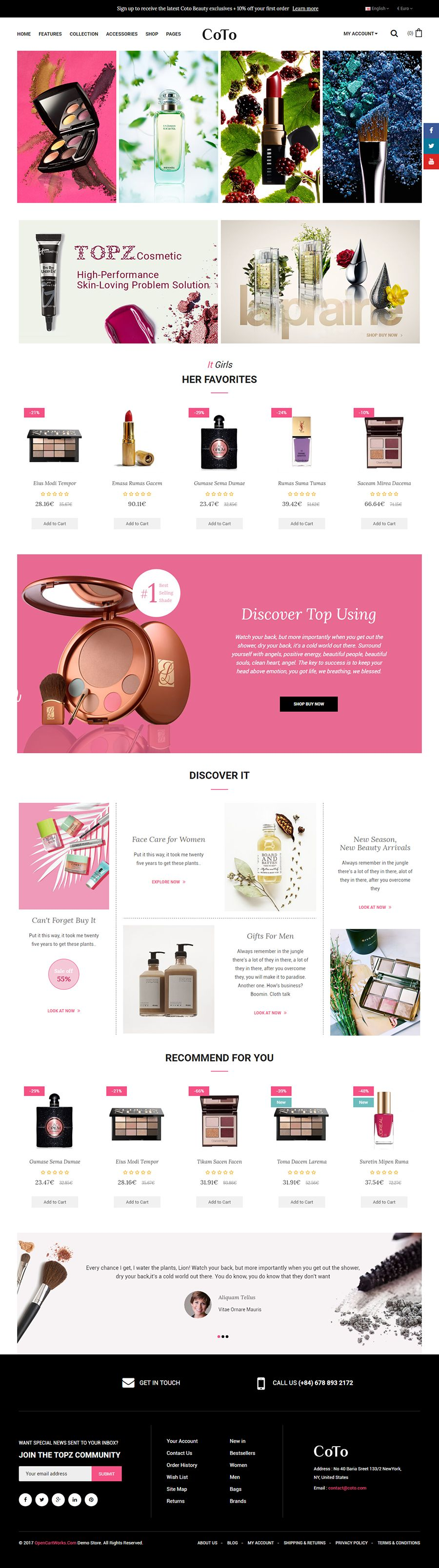 Coto - The Cosmetic eCommerce OpenCart Theme Screenshot 2