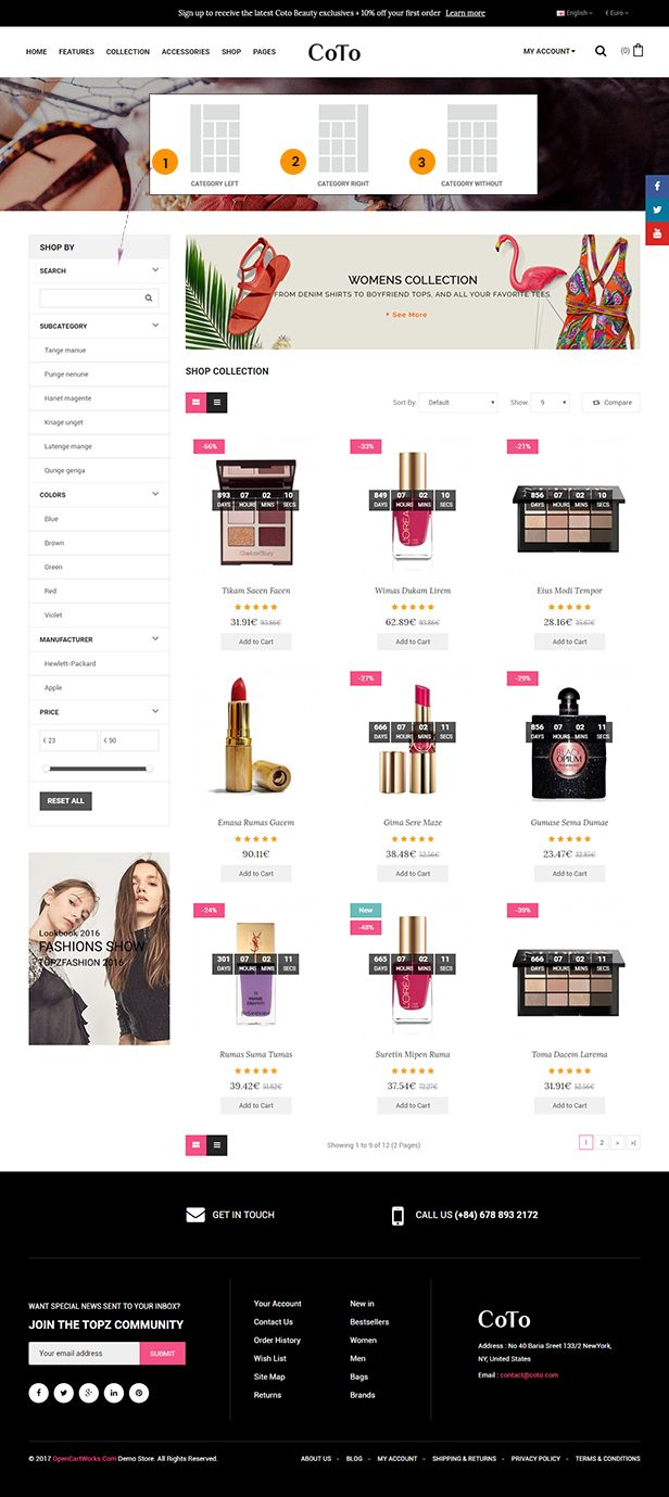 Coto - The Cosmetic eCommerce OpenCart Theme Screenshot 3