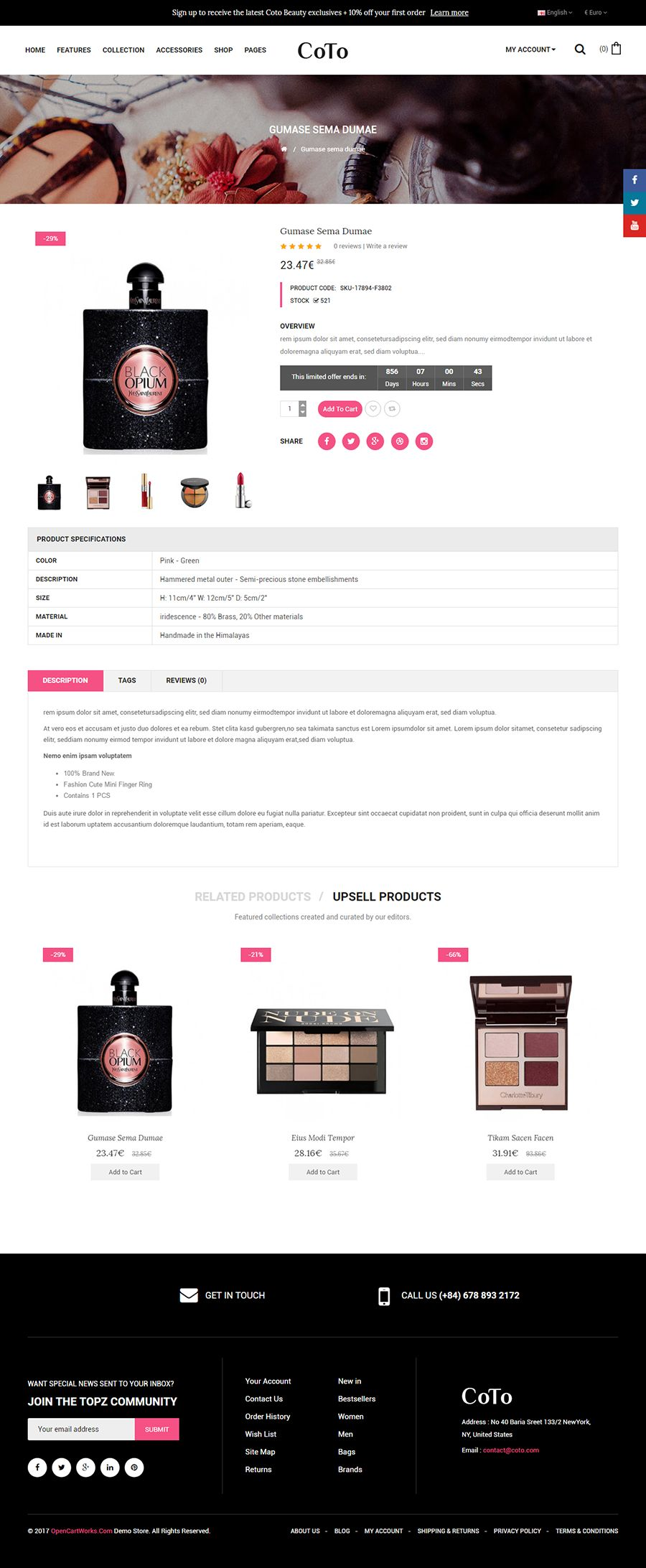 Coto - The Cosmetic eCommerce OpenCart Theme Screenshot 4