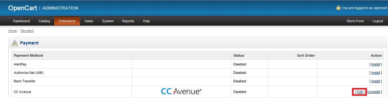 CCAvenue Payment Module For Opencart Screenshot 1