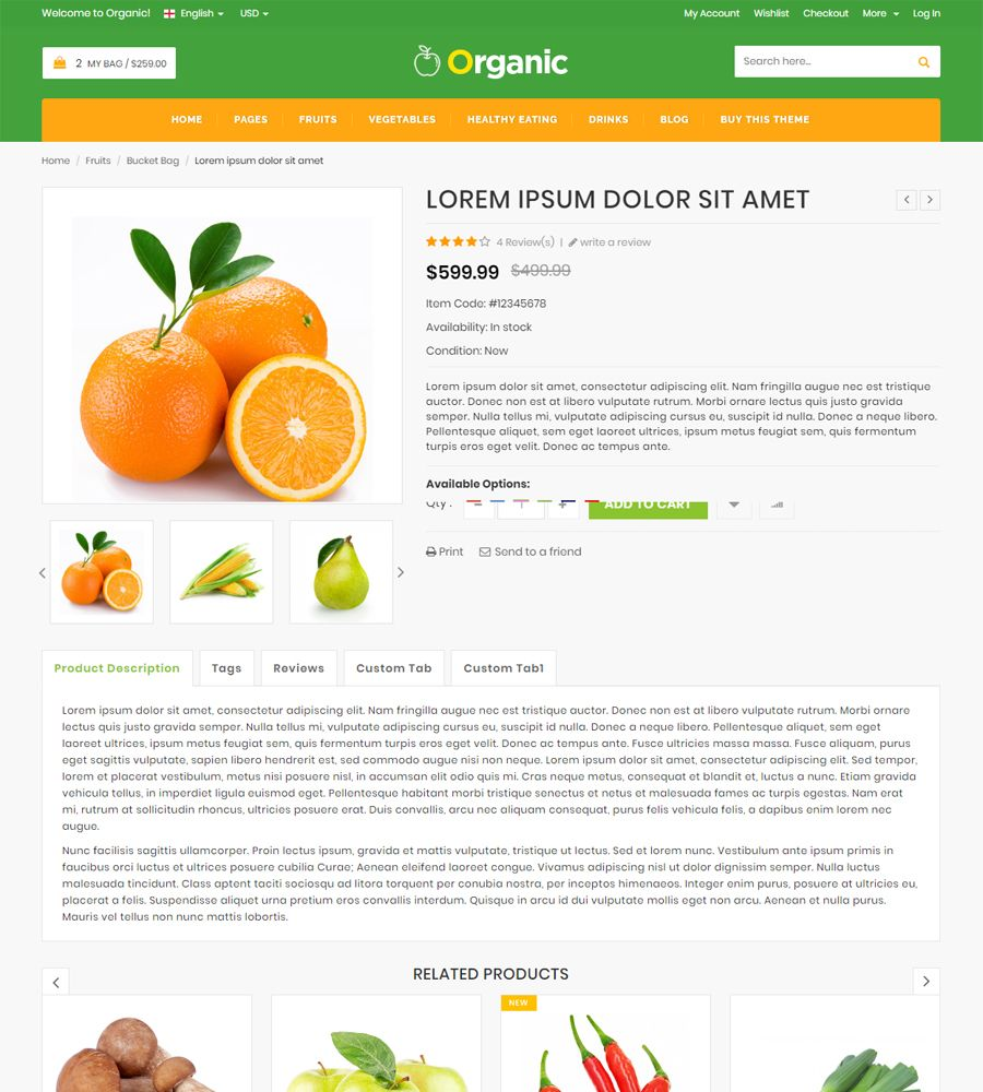 Organic - Food And Restaurant Website Template Screenshot 1
