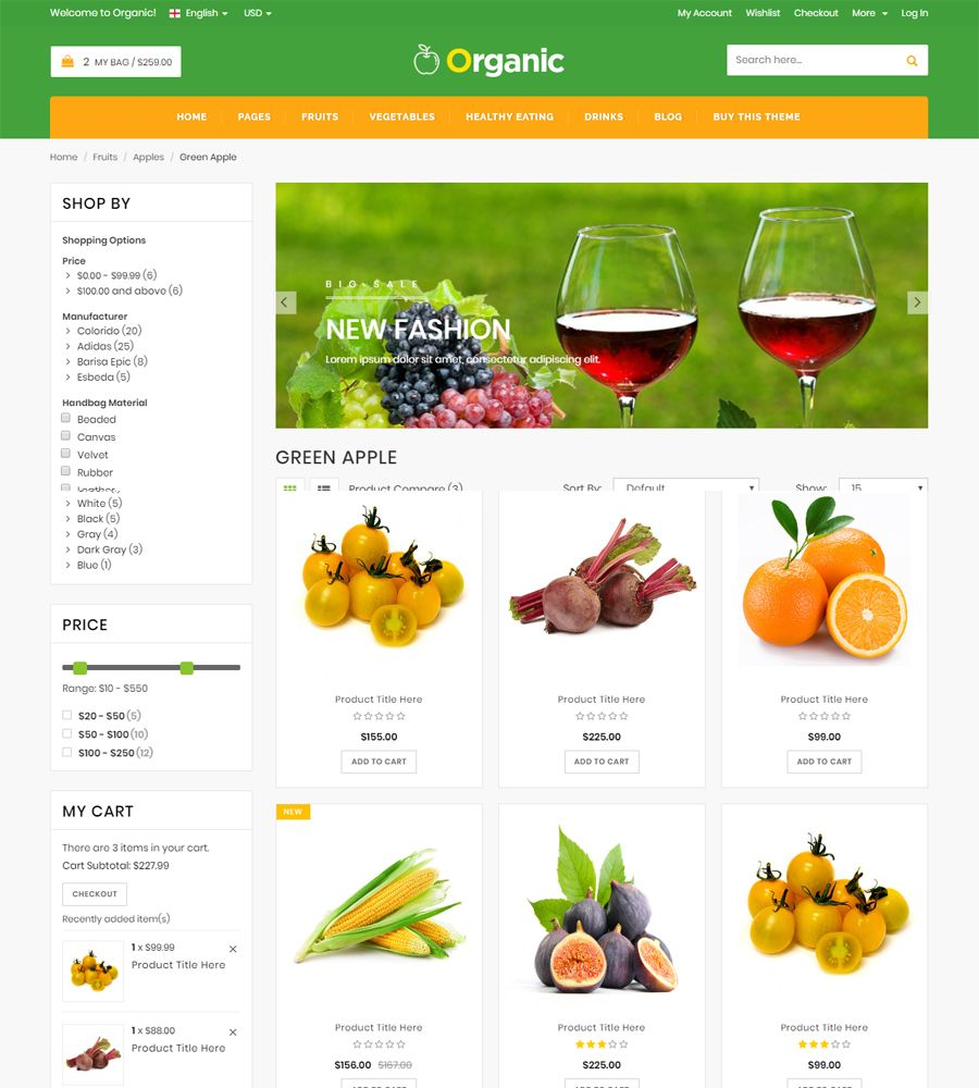 Organic - Food And Restaurant Website Template Screenshot 2