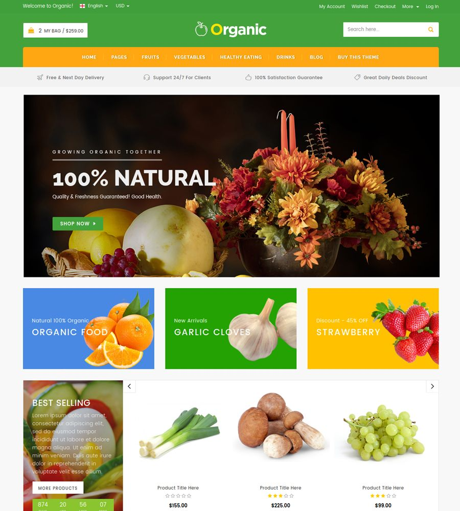 Organic - Food And Restaurant Website Template Screenshot 3
