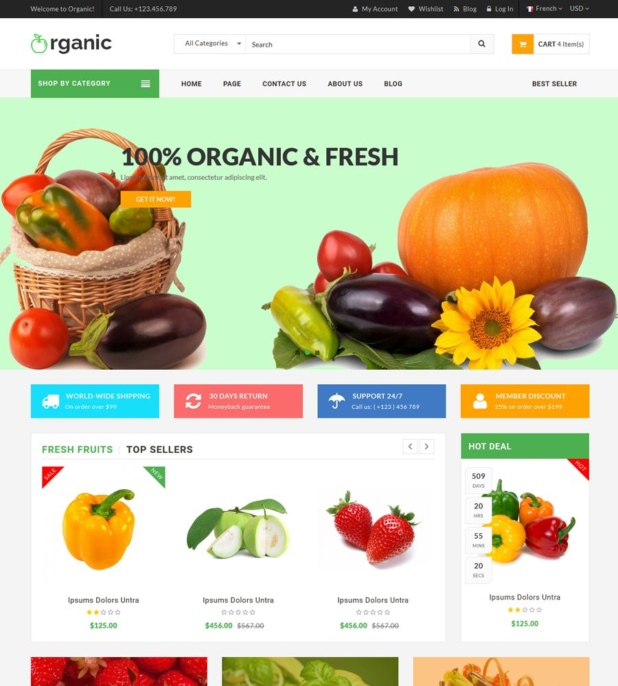 Organic - Food And Restaurant Website Template Screenshot 4