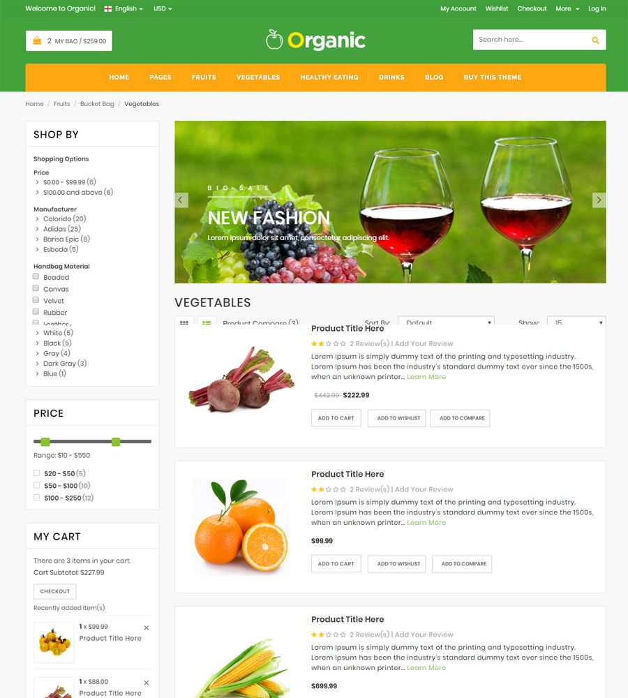 Organic - Food And Restaurant Website Template Screenshot 5