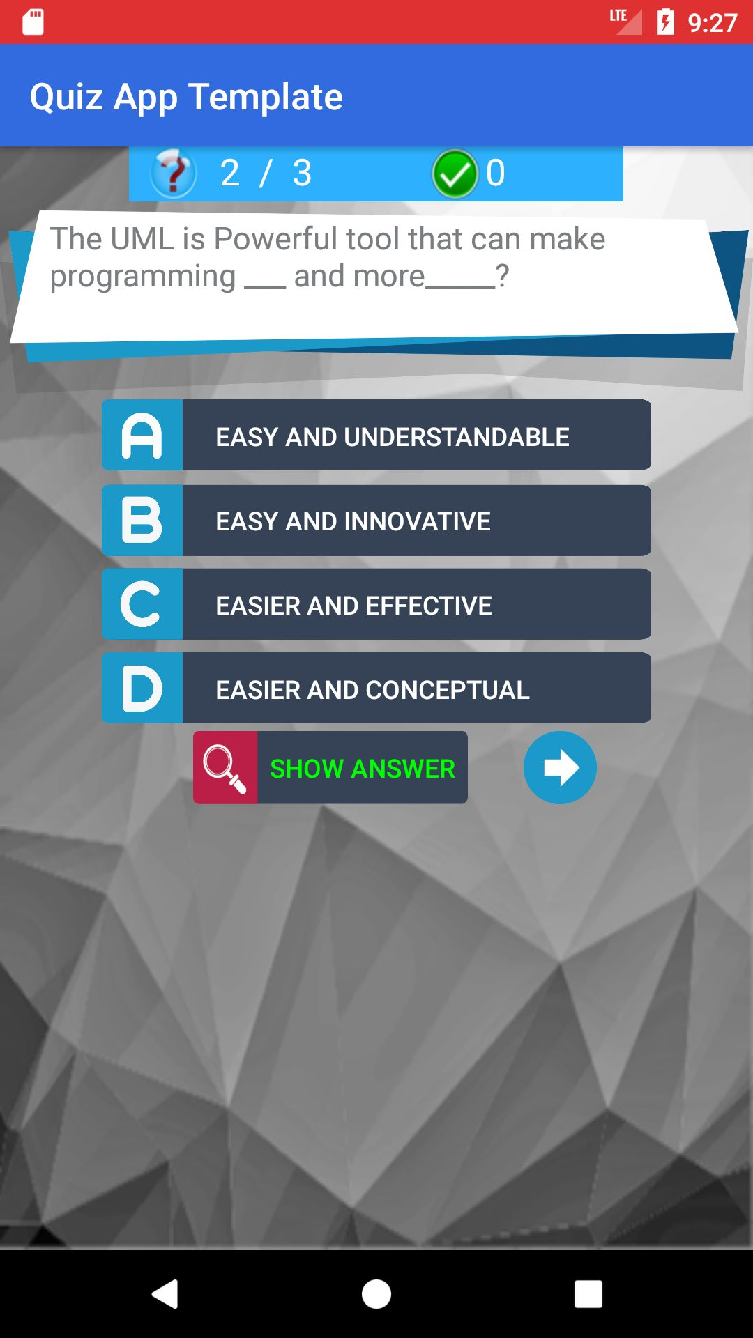 MCQs Quiz Android App Template Screenshot 2