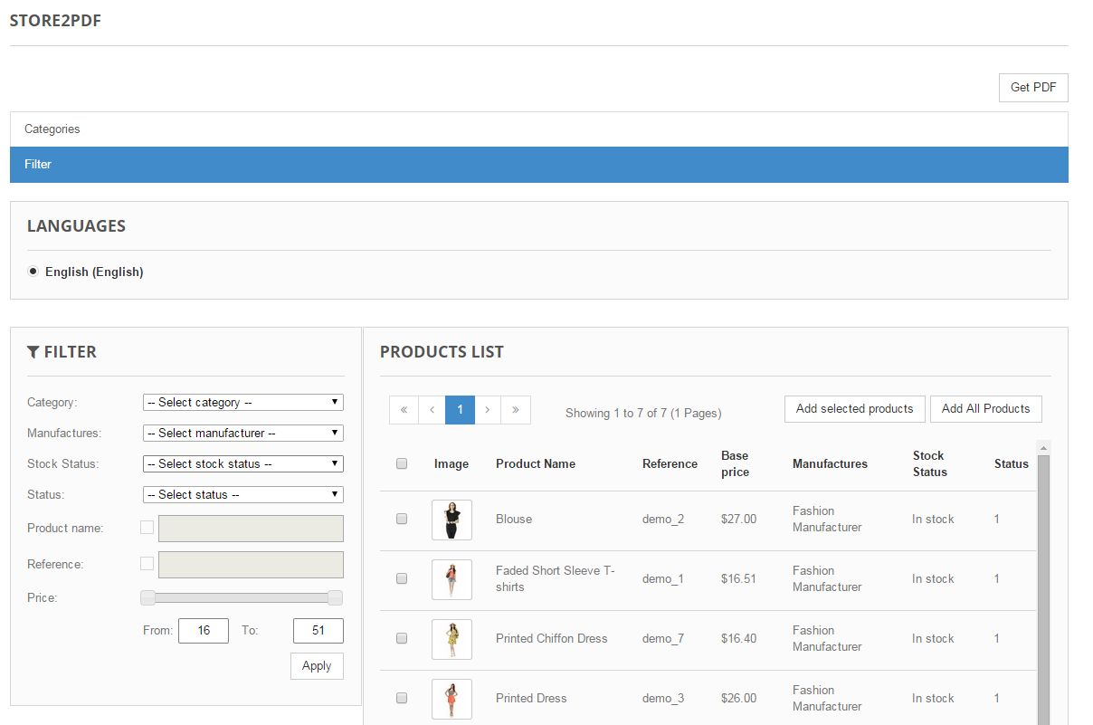 Store2PDF for Prestashop Screenshot 4