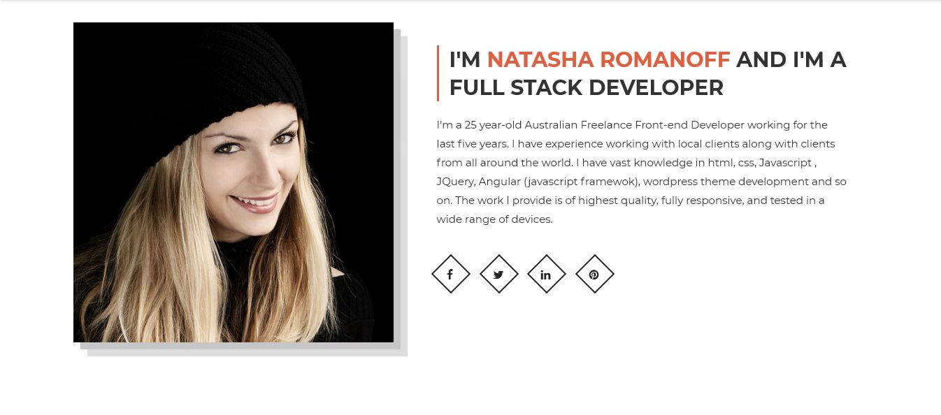Natasha - One Page Portfolio HTML Template Screenshot 1
