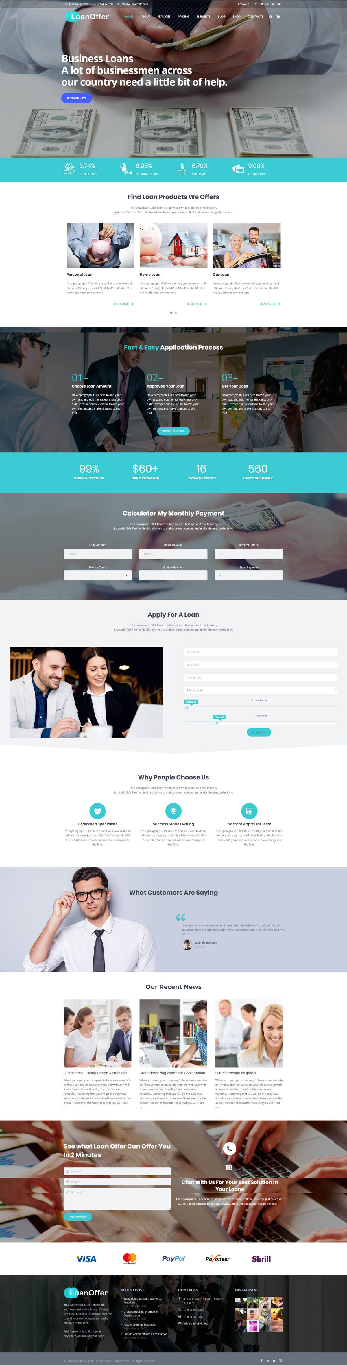 LoanOffer - Business Loan WordPress Theme Screenshot 1