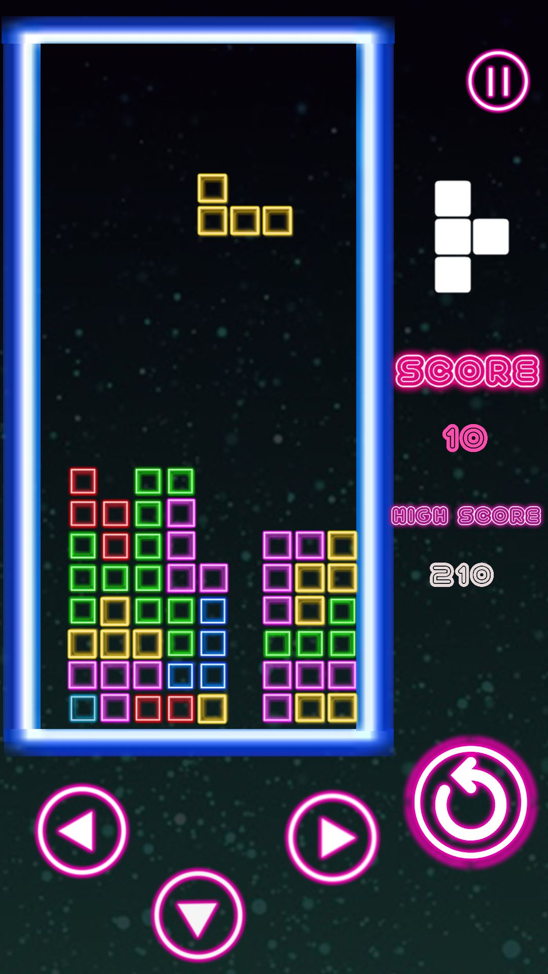Classic Neon Tetris Complete Unity Project Screenshot 3
