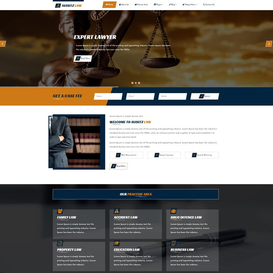 Avisitz Law - Lawyer HTML5 Template Screenshot 1