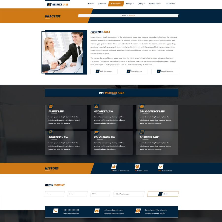 Avisitz Law - Lawyer HTML5 Template Screenshot 3