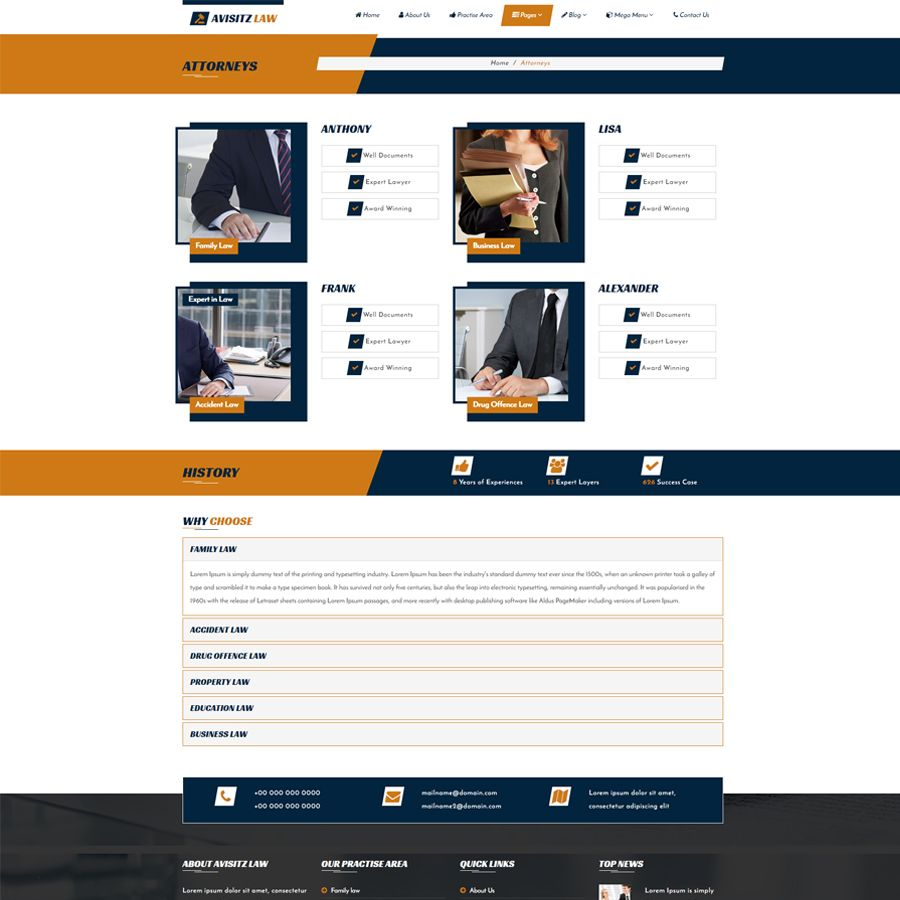 Avisitz Law - Lawyer HTML5 Template Screenshot 4